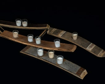 Wood Barrel Stave Candle Holders