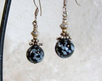 Obsidian earrings speckled and silver