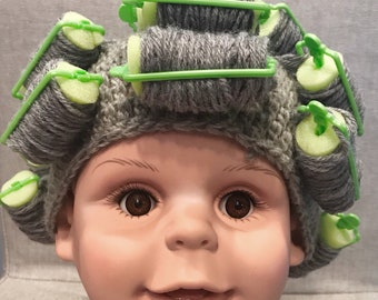 Grandma Wig - Old Lady Hair with rollers - Baby 331680b1d9c9