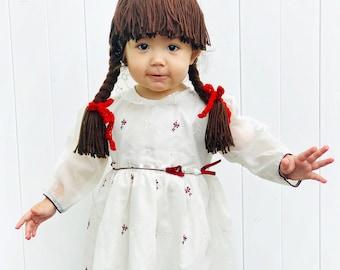 annabelle wig braid costume child doll halloween costume crochet yarn kids halloween costume