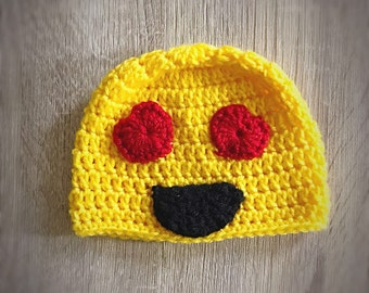 d8df4b27452 Valentine Emoji Hat - Emoji with Heart Eyes Crochet Hat - valentine s Day  gift