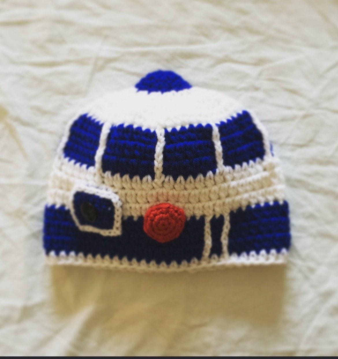 R2d2 Hat Crochet Star Wars Droid Hat Kids Star Wars Etsy