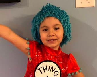 Dr Seuss Thing 1 Thing 2 Crochet Hat Wig Thng One or Thing Two - kids Baby Adult costume