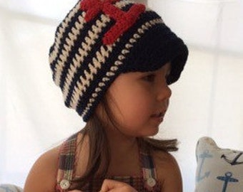 Nautical Hat - Soft Brimmed Crochet Red White Blue Summer Hat with Anchor - Babies, Toddlers, Kids - You Choose the Size