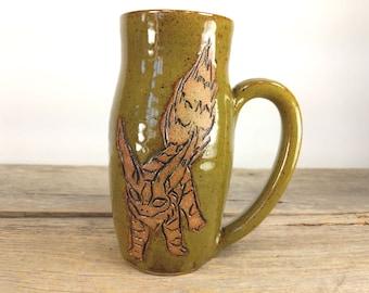 Fox Squirrel - Nausicaa Valley of the Wind - Tato - Studio Ghibli - 16 oz Wheel Thrown Hand Carved Studio Ghibli Coffee Cup