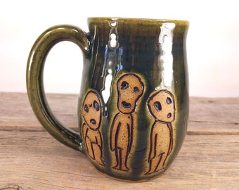 Kodoma Mug - 16 oz - Dark Green - Wheel Thrown Hand Carved Studio Ghibli Coffee Cup
