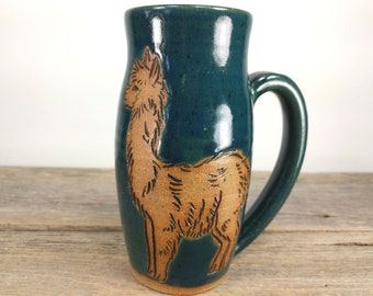 Alpaca Mug - 16oz - Cute Teen Girl Gift - Unique Pottery Mug - Mug for Knitters - Large Mug for Coffee - Knit - Lama Mug -  Mesiree Ceramics