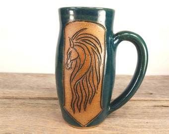 Riders of Rohan 16 oz - Teal - Wheel Thrown and Hand Carved Coffee Cup