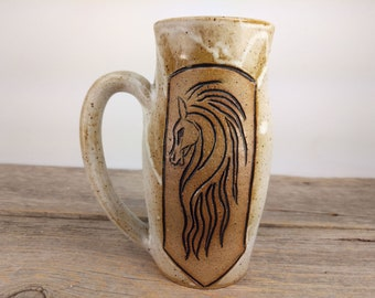 Riders of Rohan 16 oz - Speckled White - Wheel Thrown and Hand Carved Coffee Cup
