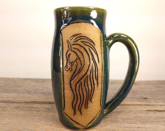 Riders of Rohan 16 oz - Dark Green - Wheel Thrown and Hand Carved Coffee Cup