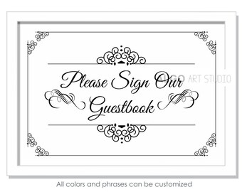 image about Please Sign Our Guestbook Free Printable called Signal our guestbook Etsy