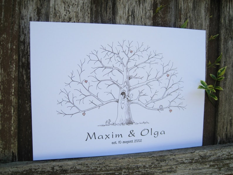 Hand Drawn Tree with Hearts Personalized Tree Sign Guest Book Thumbprint Tree Custom Fingerprint Tree Alternative Wedding Guestbook