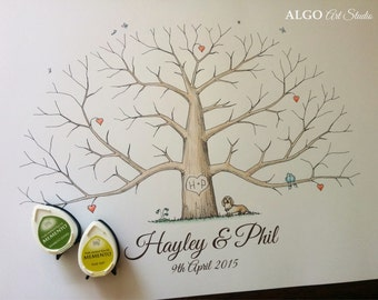 Custom Hand Drawn Wedding Fingerprint Tree, Unique personalized gift drawn to order, Family thumbprints, Alternative guestbook + 2 INK PADS
