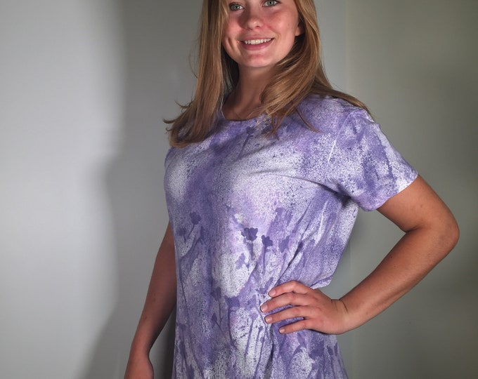 Purple  lavender flowers all over. hand painted art wear, size XL, casual to dressy, great for office, lunch meeting, traveling,  gift .