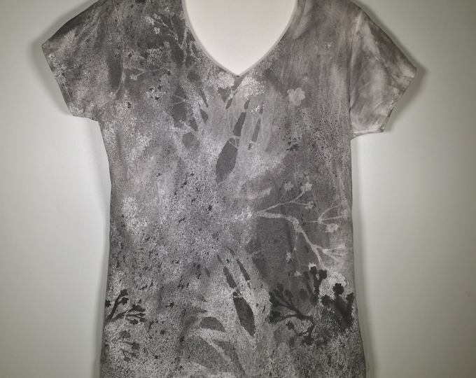 Black gray white flowers abstract all over V neck ,one of a kind hand painted, great for traveling , dressy for special occasion and more.