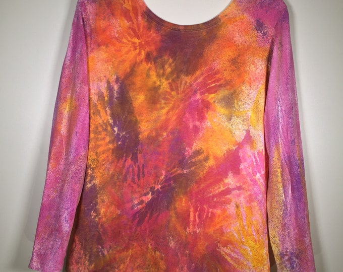 Pink purple yellow abstract all over, long sleeve, crew neck, one of a kind, great for hangout, traveling, school, street , anytime .