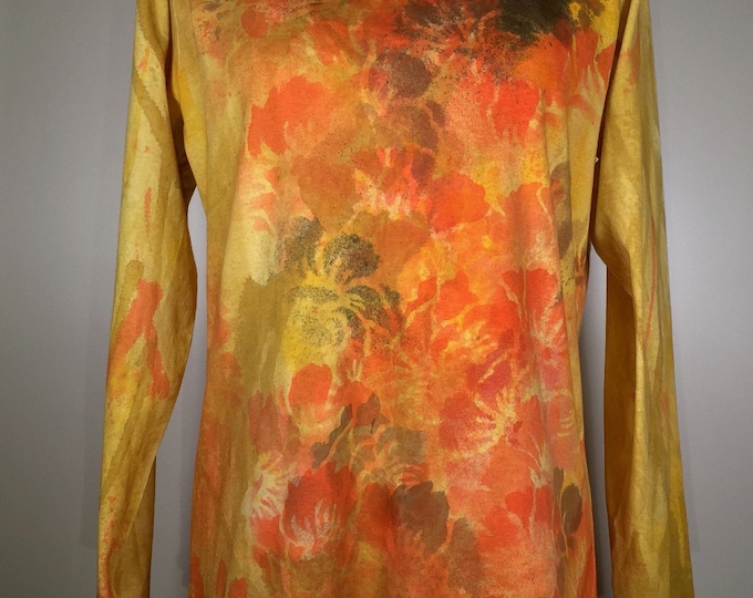 Orange golden yellow scent of autumn all over, heavy cotton long sleeves,one of a kind, great for traveling, work , leisure activities .
