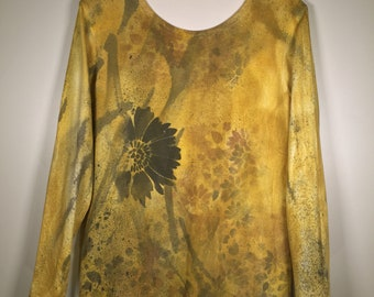 Golden yellow brown black flower abstract all over long sleeve , one of a kind , comfort and beauty. great for  casual or  dress up .
