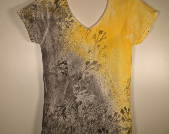 yellow black  maroon white abstract artwork, all over, soft cotton V neck fitted, elegant and  comfortable, great for everywhere .anytime.
