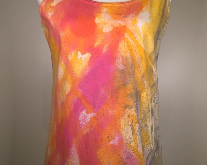 Magenta ,gold, white butterfly all over tank top, summer  bright look, sexy, comfortable ,great for outdoor activities, traveling  and more.
