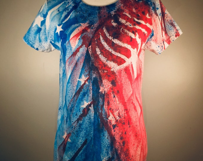 Red white blue patriotic Stars and Stripes all over, comfortable ,great for 4th July , traveling , everywhere and anytime.