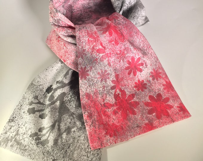 Red and black flowers hand painted cotton scarf is an original work of art, versatile, stylish, comfortable, great gifts idea for holiday,