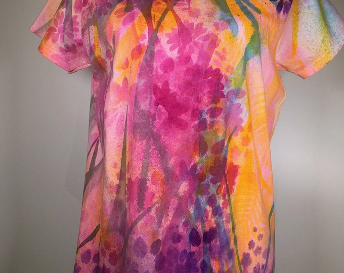 pink purple blue flower all over shirt ,unique ,comfortable, great for traveling, casual activities ,beach, poolside, everywhere,any time !