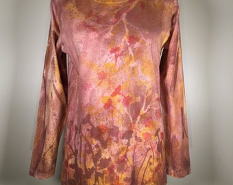 Coral red brown yellow  beautiful autumn flowers all over  , long sleeve, cotton, one of a kind, great for work , traveling, everywhere, .
