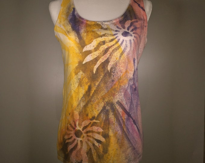 yellow purple pink suit flower all over tank top, sexy and stunning look, great for day and night, outdoor indoor , every, anytime