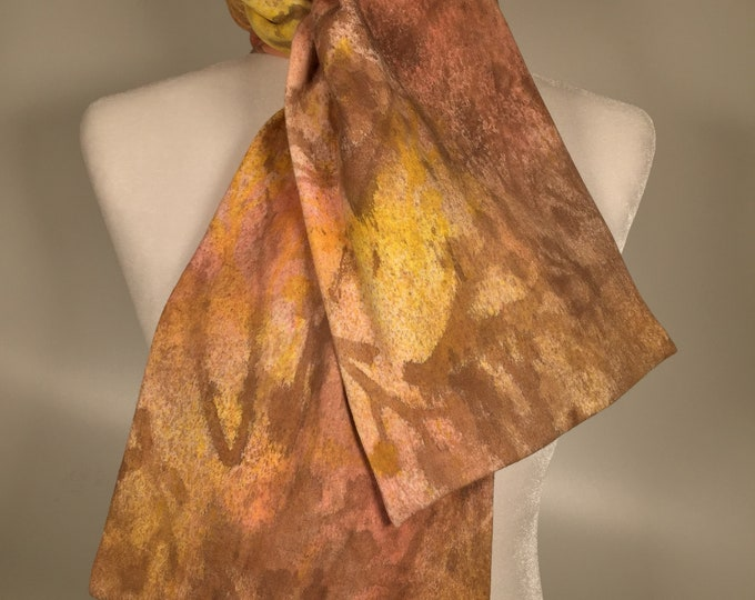 Scarf original artwork ,hand painted, one of a kind, cotton ,brown yellow pink color combinations all over, versatile, soft ,comfortable .