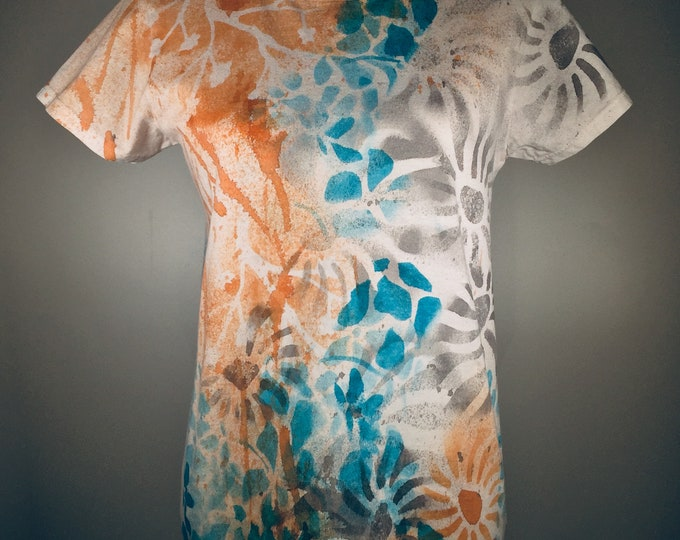 Turquoise gray  brown trees flowers all over the shirt, pretty , elegant, comfortable, great for working, traveling, everywhere,anytime.