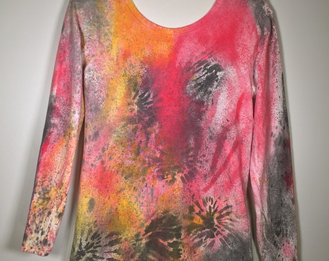 Pink black yellow abstract all over . long sleeve ,crewneck.one of a kind, stunning and beautiful, great for hanging out, traveling, more .
