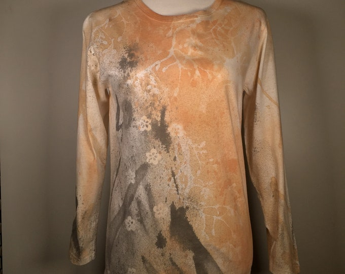 Beige gray white flower,  all over the shirt , long sleeves, elegant ,beautiful, great for office , dinning out , everywhere anytime