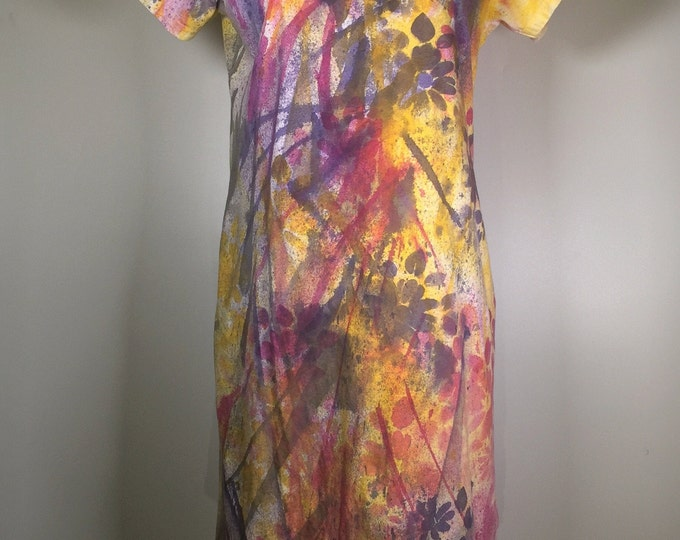 pink purple yellow all over dress ,cover up, comfortable,  great for beach, pool side , at home ,hangout with friends ! or as a PJ.
