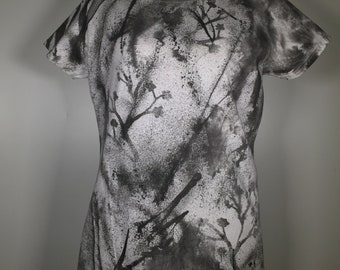 Flowers,Black white abstract ,original fabric art, comfortable spring summer shirt, great mix for jeans, shorts, shirts. Casual to dressy .
