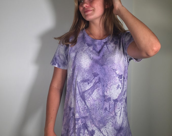 One of a kind, hand painted water color look, lavender and purple flower all over cotton shirt,  size XL. Versatile, for working from home.