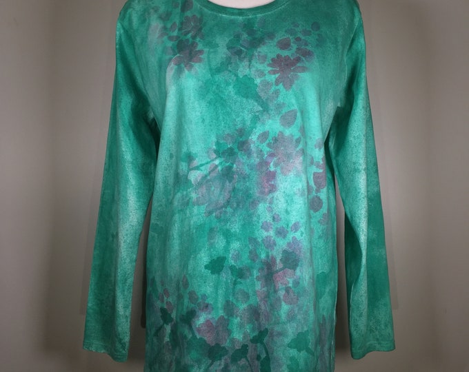 Emerald green pink purple flower all over shirt, long sleeves, one of a kind, beautiful and comfortable, great for working , traveling,