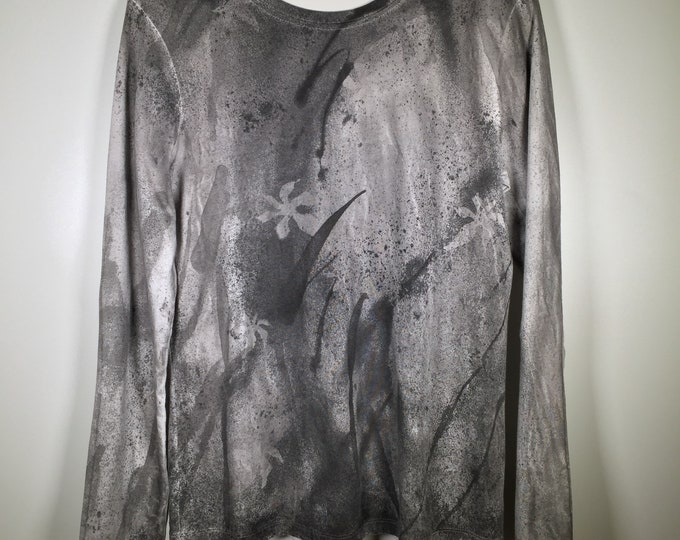 Black gray white artwork all over , soft cotton long sleeve, semi-relaxed fit. one of a kind , stunning , great for formal activities .