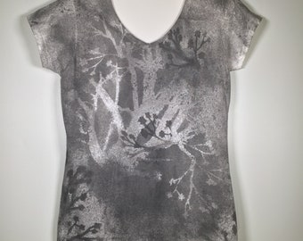 Black gray white  flowers abstract all over V neck , one of a kind .elegant and comfortable, great for office or traveling  everywhere more.
