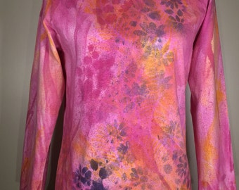 Pink Purple yellow flower all over ,  long sleeves, one of a kind,  pretty and comfortable for traveling, working ,everywhere , any time!