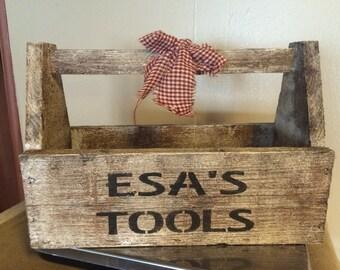 Farmhouse Personalized Primitive Wood tool box