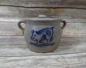 1988 Salt Glaze Stoneware Rowe Pottery Works Crock With Lid Farmhouse Decor Kitchen Decor Pig Decor Salt Pig Housewarming Wedding Gift