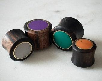 One of a Kind! Ceramic on Black Metal Unique Pair of 1 Ear Gauges Purple Glitter Swirls Screw on