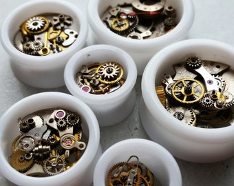 STEAMPUNK Style White Double Flare Tunnels/ Plugs With Brass & Steel Cogs **Sizes 8mm / 10mm /12mm / 14mm / 19mm / 25mm / 30mm**