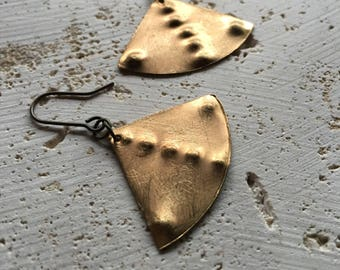 Gold brass geometric triangle drop earrings