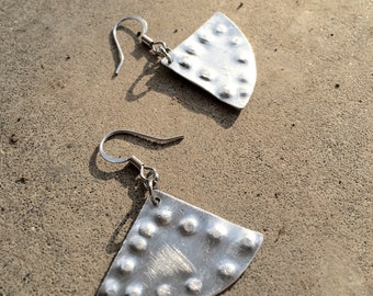 Hammered silver geometric triangle drop earrings