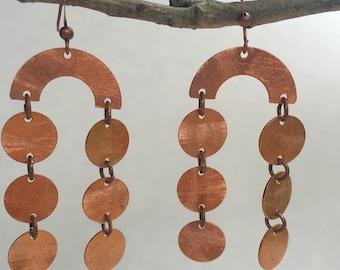 Scuffed copper chandelier earrings