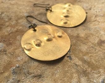 Brass disc earrings