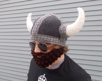 c25cd80f905 Crochet Men s Viking Hat   Removable Beard in Torbjørn the Terrible