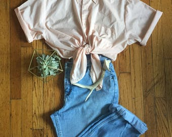 1960s Pale Pink Short Sleeve Button Down